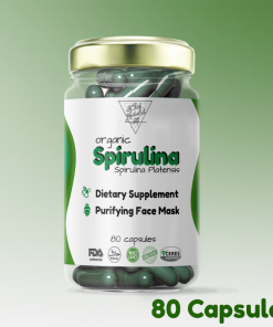 Spirulina Capsules The Little Herbalist Front of the Bottle Product presentation
